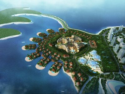 海花岛欧堡酒店(中)与七星海岛别墅酒店鸟瞰图